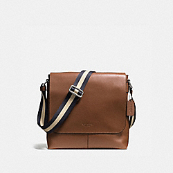 CHARLES SMALL MESSENGER IN SPORT CALF LEATHER - f72362 - DARK SADDLE