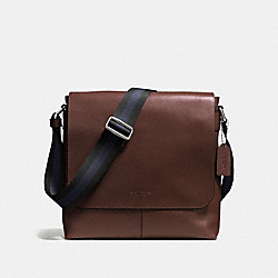 COACH CHARLES SMALL MESSENGER IN SPORT CALF LEATHER - MAHOGANY - F72362