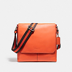 CHARLES SMALL MESSENGER IN SPORT CALF LEATHER - NICKEL/CORAL - COACH F72362