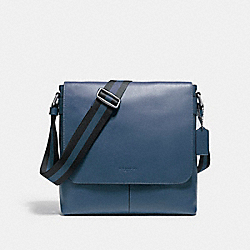CHARLES SMALL MESSENGER IN SPORT CALF LEATHER - f72362 - NICKEL/DARK DENIM