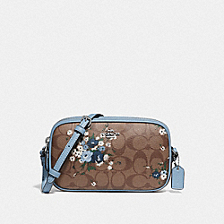 CROSSBODY POUCH IN SIGNATURE CANVAS WITH FLORAL BUNDLE PRINT - KHAKI BLUE MULTI/SILVER - COACH F72428