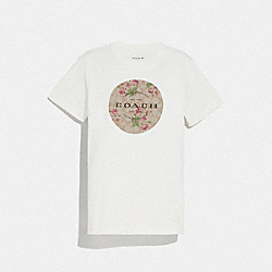 SIGNATURE LILY BOUQUET PRINT T-SHIRT - WHITE - COACH F72430