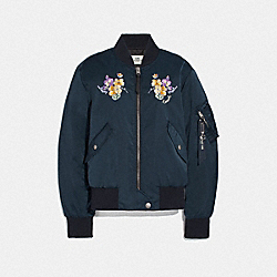 MA-1 JACKET WITH FLORAL EMBROIDERY - NAVY - COACH F72441