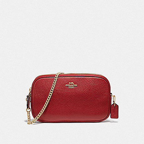 COACH CROSSBODY POUCH - TRUE RED/IMITATION GOLD - F72490