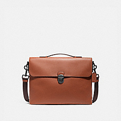 BECKETT FLAP BRIEF - SADDLE/BLACK ANTIQUE NICKEL - COACH F72509