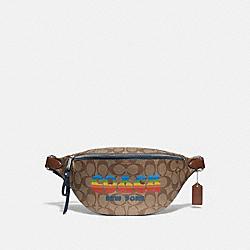 BELT BAG IN SIGNATURE CANVAS WITH RAINBOW COACH ANIMATION - KHAKI/MULTI/SILVER - COACH F72710