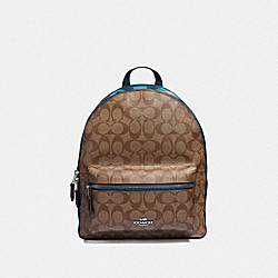 MEDIUM CHARLIE BACKPACK IN SIGNATURE CANVAS WITH RAINBOW COACH ANIMATION - KHAKI/MULTI/SILVER - COACH F72712