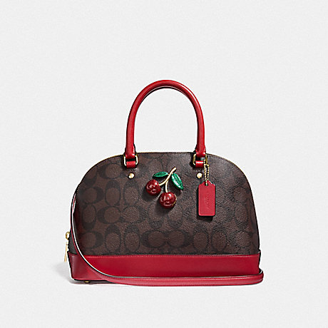 COACH MINI SIERRA SATCHEL IN SIGNATURE CANVAS WITH CHERRY - BROWN/BLACK/TRUE RED/GOLD - F72751