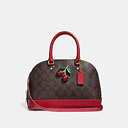 MINI SIERRA SATCHEL IN SIGNATURE CANVAS WITH CHERRY - BROWN/BLACK/TRUE RED/GOLD - COACH F72751