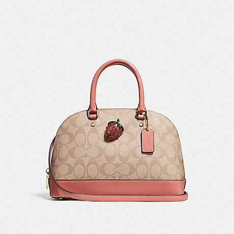 COACH MINI SIERRA SATCHEL IN SIGNATURE CANVAS WITH STRAWBERRY - LIGHT KHAKI/CORAL/GOLD - F72752