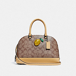 MINI SIERRA SATCHEL IN SIGNATURE CANVAS WITH LEMON - KHAKI/SUNFLOWER - COACH F72753