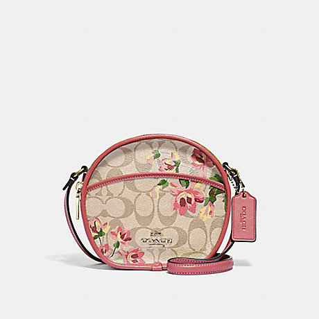 COACH CANTEEN CROSSBODY IN SIGNATURE CANVAS WITH LILY PRINT - LIGHT KHAKI/PINK MULTI/GOLD - F72803