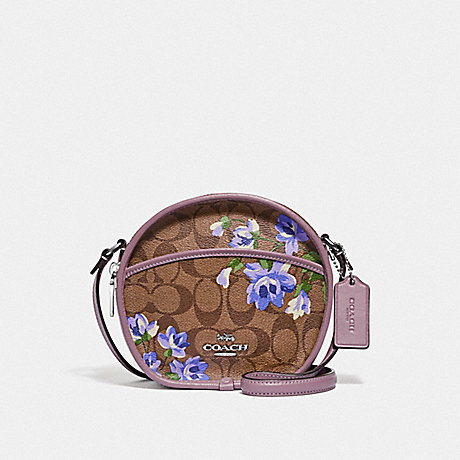 COACH CANTEEN CROSSBODY IN SIGNATURE CANVAS WITH LILY PRINT - KHAKI/PURPLE MULTI/SILVER - F72803