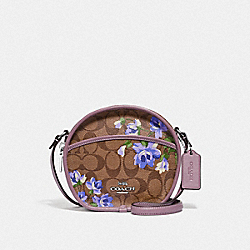 CANTEEN CROSSBODY IN SIGNATURE CANVAS WITH LILY PRINT - KHAKI/PURPLE MULTI/SILVER - COACH F72803