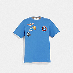 TRAVEL PATCH T-SHIRT - VINTAGE BLUE - COACH F72813