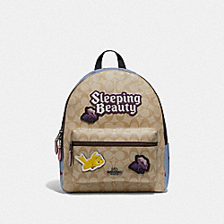 DISNEY X COACH MEDIUM CHARLIE BACKPACK IN SIGNATURE CANVAS WITH SLEEPING BEAUTY - LIGHT KHAKI - COACH F72819