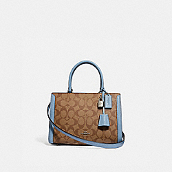 SMALL ZOE CARRYALL IN SIGNATURE CANVAS - KHAKI/BLUE MULTI/SILVER - COACH F72840