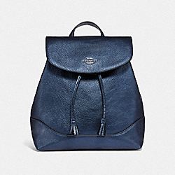 ELLE BACKPACK - MTLLC MIDNIGHT NAVY/SILVER - COACH F72841