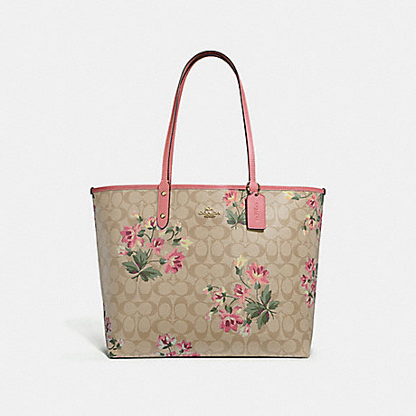 COACH REVERSIBLE CITY TOTE IN SIGNATURE CANVAS WITH LILY PRINT - LIGHT KHAKI MULTI/ROSE PETAL/IMITATION GOLD - F72844