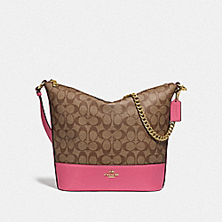 PAXTON DUFFLE IN SIGNATURE CANVAS - KHAKI/PINK RUBY/GOLD - COACH F72852