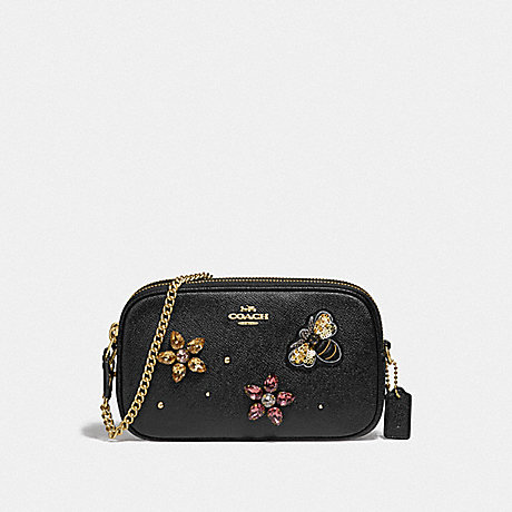 COACH CROSSBODY POUCH WITH GEMSTONES - BLACK/GOLD - F72887