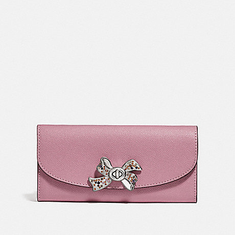 COACH SLIM ENVELOPE WALLET WITH BOW TURNLOCK - TULIP - F72902