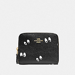 DISNEY X COACH SMALL ZIP AROUND WALLET WITH SNOW WHITE AND THE SEVEN DWARFS EYES PRINT - BLACK/MULTI/GOLD - COACH F72946