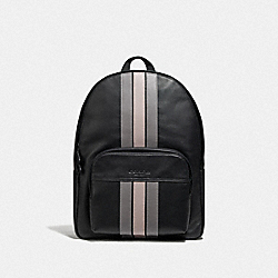 HOUSTON BACKPACK WITH VARSITY STRIPE - BLACK ANTIQUE NICKEL/BLACK/ GREY/ CHALK - COACH F72964