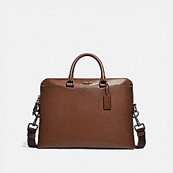 BECKETT PORTFOLIO BRIEF - SADDLE/BLACK ANTIQUE NICKEL - COACH F72969