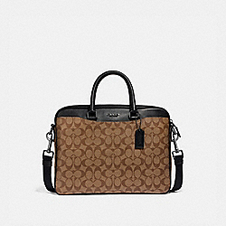 BECKETT COMPACT BRIEF IN SIGNATURE CANVAS - TAN/BLACK ANTIQUE NICKEL - COACH F72972