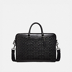 BECKETT SLIM BRIEF IN SIGNATURE LEATHER - BLACK - COACH F72977