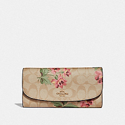 CHECKBOOK WALLET IN SIGNATURE CANVAS WITH LILY PRINT - LIGHT KHAKI/PINK MULTI/IMITATION GOLD - COACH F73006