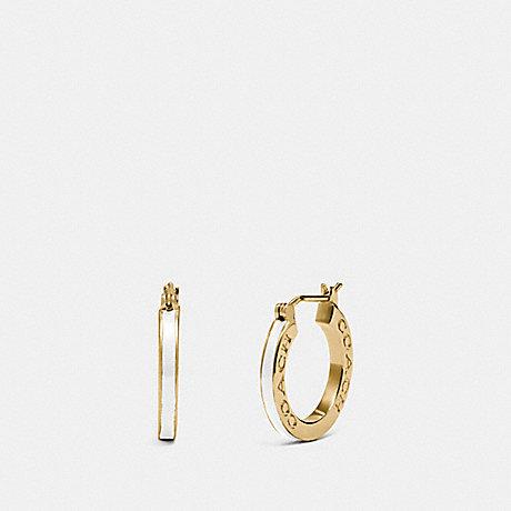 COACH HUGGIE EARRINGS - GOLD/CHALK - F73021