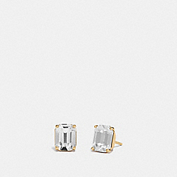 EMERALD CUT STUD EARRINGS - CLEAR/GOLD - COACH F73036