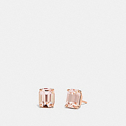 EMERALD CUT STUD EARRINGS - PEACH/ROSE GOLD - COACH F73036