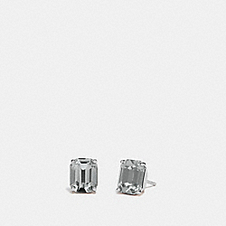 EMERALD CUT STUD EARRINGS - BLACK/SILVER - COACH F73036