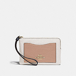 CORNER ZIP WRISTLET IN COLORBLOCK - CHALK - COACH F73061