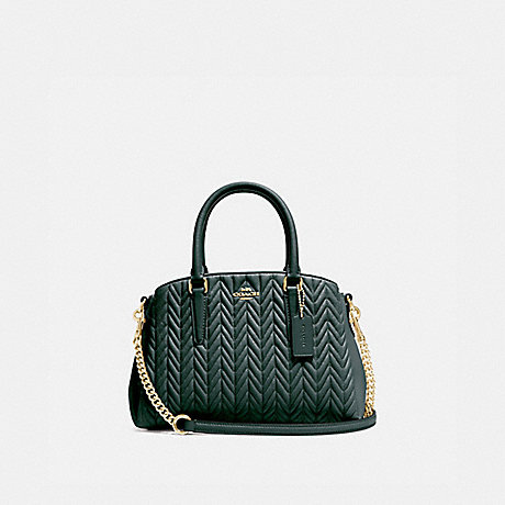 COACH MINI SAGE CARRYALL WITH QUILTING - IM/EVERGREEN - F73063