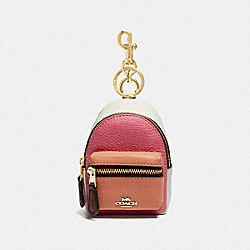 BACKPACK COIN CASE IN COLORBLOCK - PINK RUBY/GOLD - COACH F73064
