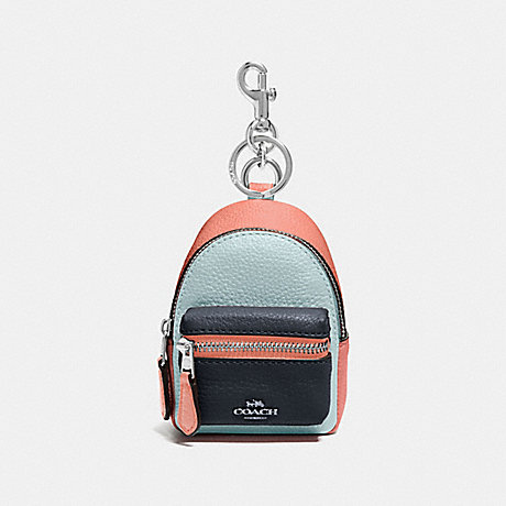 COACH BACKPACK COIN CASE IN COLORBLOCK - SEAFOAM/MULTI/SILVER - F73064
