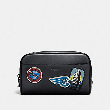COACH OVERNIGHT TRAVEL KIT WITH TRAVEL PATCHES - MIDNIGHT NAVY/MULTI - F73093