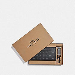 BOXED ACCORDION WALLET GIFT SET WITH DIAMOND FOULARD PRINT - BLACK/MULTI - COACH F73111