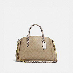 SAGE CARRYALL IN SIGNATURE CANVAS - LIGHT KHAKI/CHALK/GOLD - COACH F73127