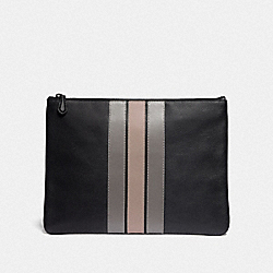 LARGE POUCH WITH VARSITY STRIPE - BLACK ANTIQUE NICKEL/BLACK/ GREY/ CHALK - COACH F73141