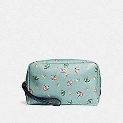 BOXY COSMETIC CASE WITH BEACH UMBRELLA PRINT - SEAFOAM/MIDNIGHT/SILVER - COACH F73144