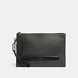 STRUCTURED POUCH WITH HERRINGBONE PRINT - BLACK/MULTI - COACH F73150