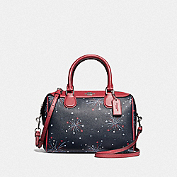 MINI BENNETT SATCHEL WITH FIREWORKS PRINT - SILVER/NAVY MULTI - COACH F73155
