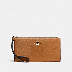 LONG WALLET - LIGHT SADDLE/IMITATION GOLD - COACH F73156