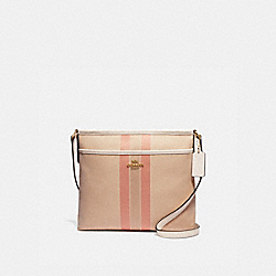 FILE CROSSBODY IN SIGNATURE JACQUARD WITH VARSITY STRIPE - LIGHT KHAKI/CORAL/GOLD - COACH F73157