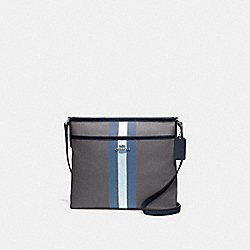 FILE CROSSBODY IN SIGNATURE JACQUARD WITH VARSITY STRIPE - MIDNIGHT BLUE/SILVER - COACH F73157